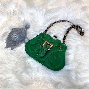 Isabella Fiore Green Mini Purse with Chain Strap